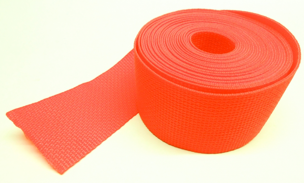 Spanband oranje op rol 50 meter 25mm breed